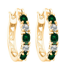 An item in the Jewelry & Watches category: 2.1CT Created Emerald Hoop Earrings with Diamonds 14K Yellow Gold Over for Women