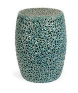 Turquoise Ceramic Garden Stool Patio Side Table Decor Accent Outdoor Fur... - €192,37 EUR