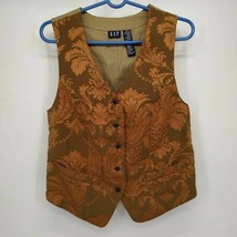 Gap Womens Vest Green Floral brocade Button up Lined M - $24.00