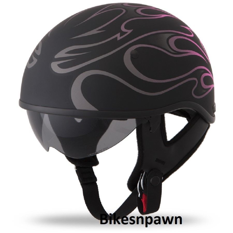 New M Flat Black/Pink Fly Racing DOT Approved .357 Motorcycle Half Helmet