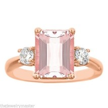 MORGANITE & DIAMOND ENGAGEMENT RING EMERALD CUT 10x8mm ROSE GOLD 3.28 CA... - £1,078.57 GBP
