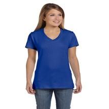 Hanes Women's Nano-T V-Neck T-Shirt, Large, Deep Royal - $6.04