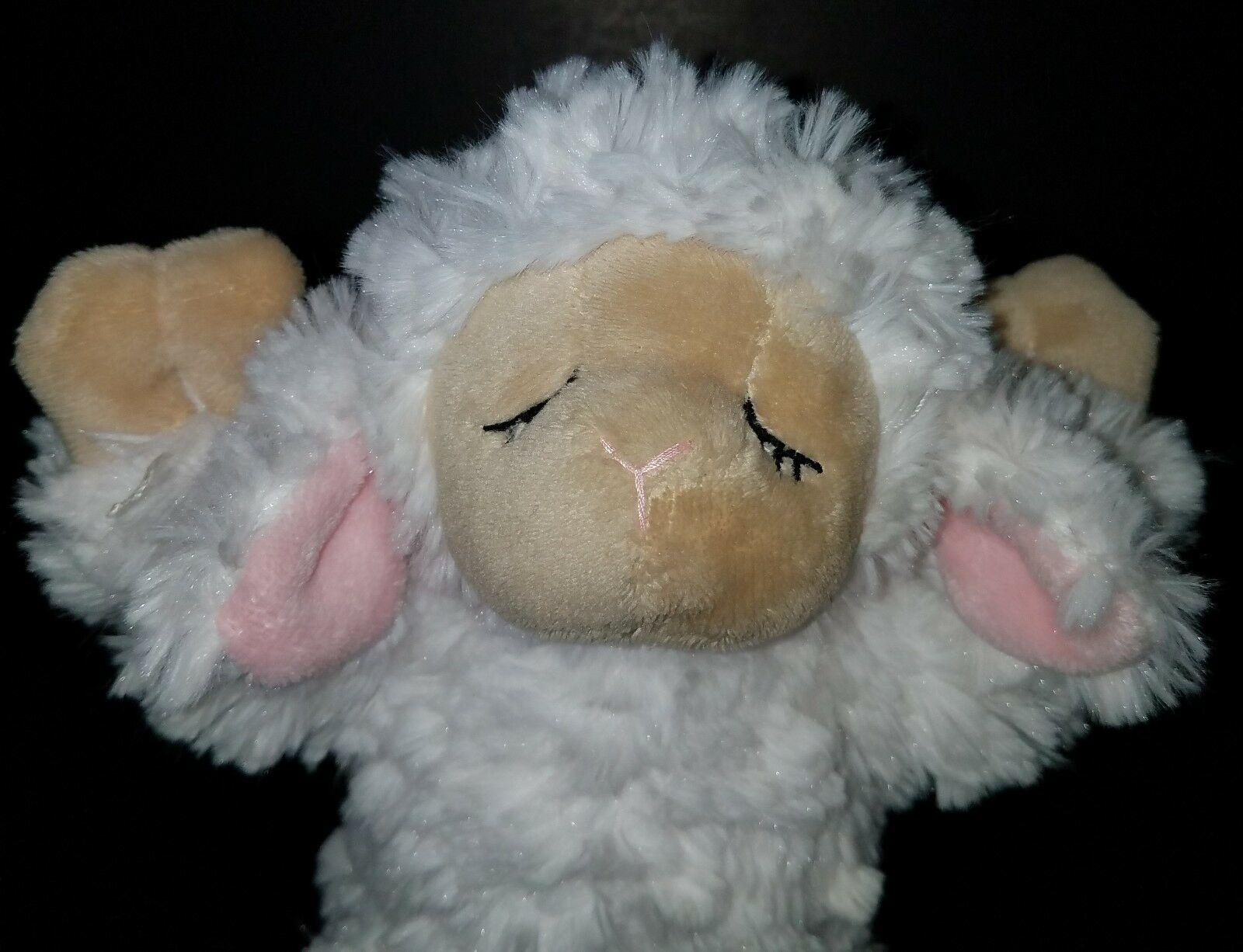 "GANZ Inspirational Lamb 9"" Plush Sheep Stuffed Animal Toy Praying White Pink"
