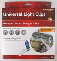 2x 100ct Simple Living Innovations Universal Christmas Light Gutter Clips NEW image 4