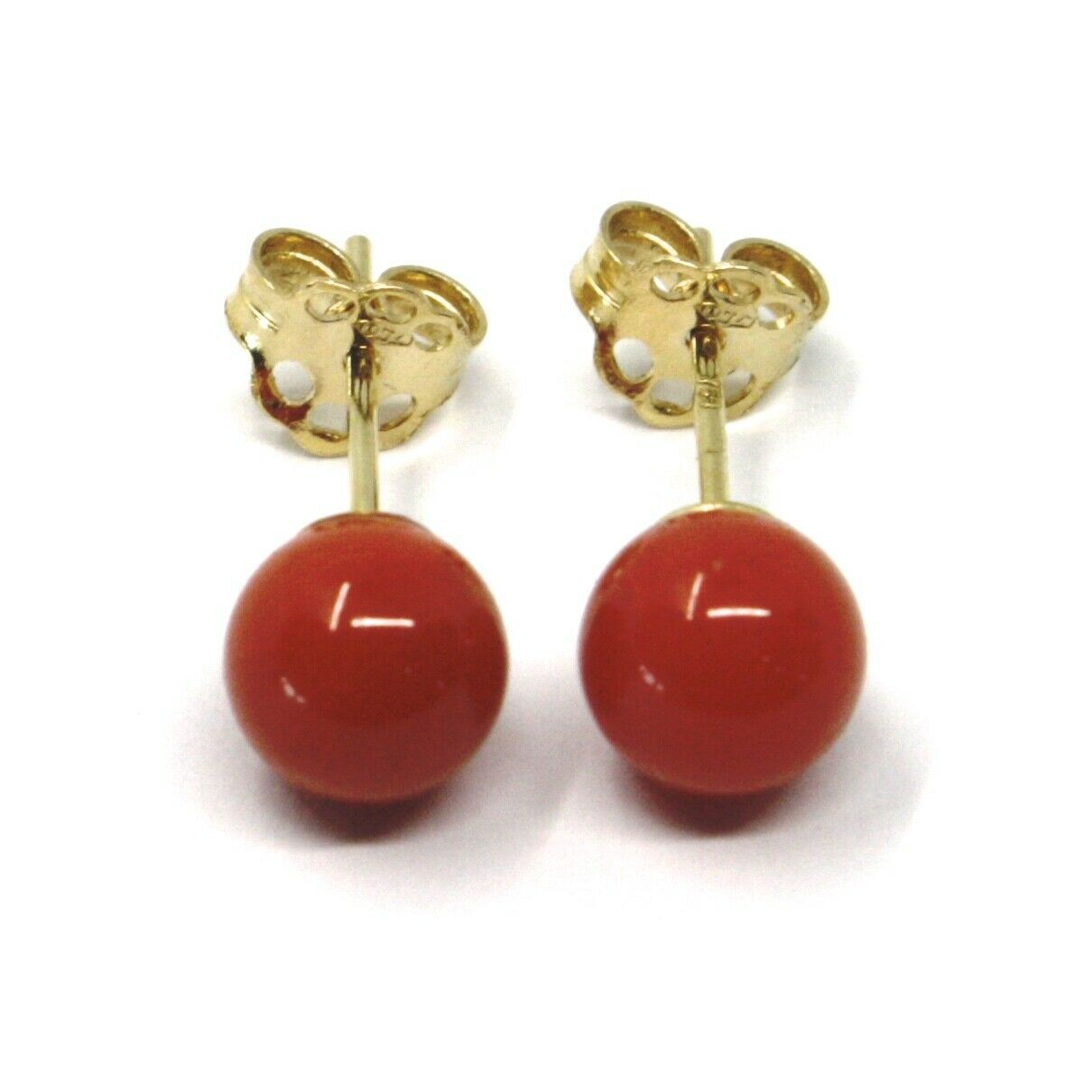 18K YELLOW GOLD BALLS SPHERES RED CORAL BUTTON EARRINGS, 6 MM, 0.24 INCHES