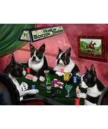 Home of Boston Terrier 4 Dogs Playing Poker Art Portrait Print Woven Thr... - $147.51