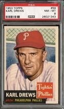 1953 Topps #59 Karl Drews Psa 8 Phillies *DS5939 - $95.00