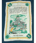 Irish Linen Towel Dublin's Fair City Anna Liffey Riverine Four Courts St... - $14.83