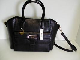 DKNY satchel handbag black lizard print leather with pocket beautiful new - $226.46