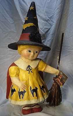 FABULOUS! Bethany Lowe Trick or Treat Girl Hallween Paper Mache