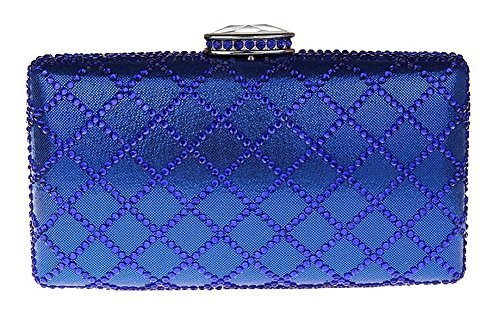 New Rhinestone Quilted Clutch Evening Bag Wedding Package 2-Blue