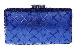 New Rhinestone Quilted Clutch Evening Bag Wedding Package 2--Blue