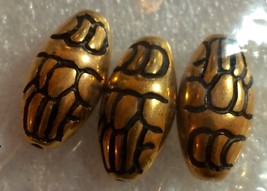 WHOLESALE DARICE 3 PC GOLD AND BLACK FLOWERED OVAL BEADS (6-PACKS) #0624... - $1.50