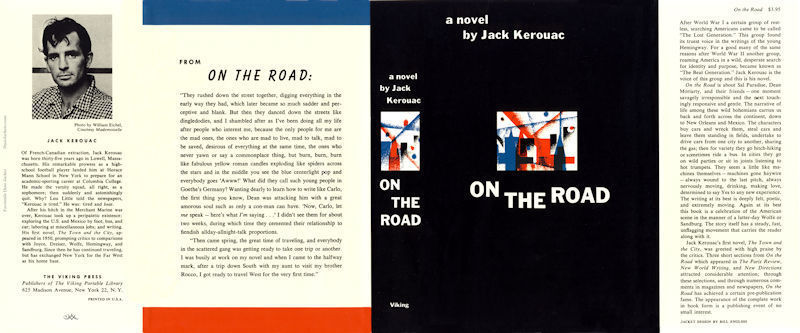 Jack Kerouac ON THE ROAD facsimile dust jacket for first edition book