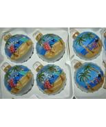 Detailed Art Ocean Palms Motif Christmas Ornament Glass Ball Hand painte... - $28.49