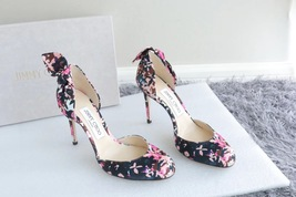 NEW AUTH JIMMY CHOO Pink Black Flower Pumps Heels Shoes 35.5