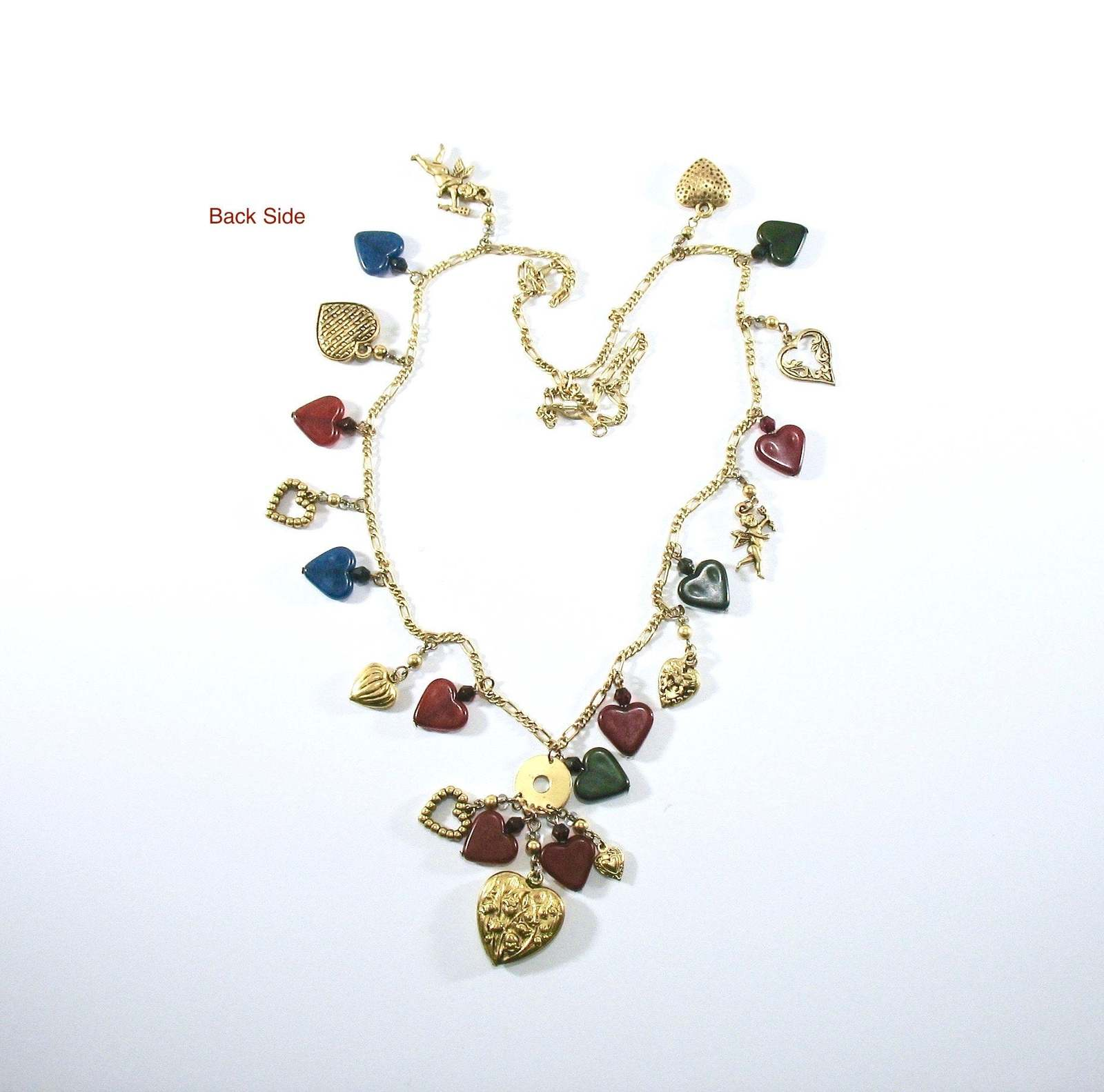 Charm Necklace, Hearts and Cupids, Boho Style, Long Figaro Chain, 1970's, Glass,