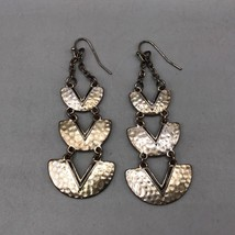 Vintage Silver Tone Dangle Pierced Earrings - $12.86