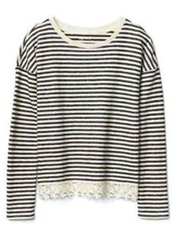 New Gap Kids Girls Navy Blue Striped French Terry Long Sleeve Lace Trim Top 6 7 - $24.70