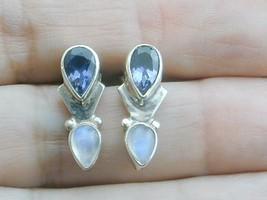 Gorgeous Sterling Sajen Tanzanite & Moonstone Dangle Earrings - $79.99