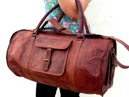 New Men's Large Brown Vintage Leather Handmade Duffel Luggage Gym Travel... - $73.52