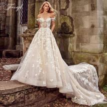 A Line Lace Applique Off Shoulder Backless Bride Dress Cathedral Train Bridal Go image 2