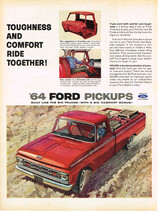 Vintage 1964 Magazine Ad For Ford Pickups If You Want Both Comfort &Toug... - $5.93