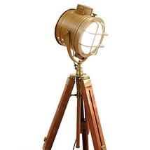 Vintage Hand Made Nautical Tripod Lamp Floor Table Spot Light Vintage Industrial - $128.69