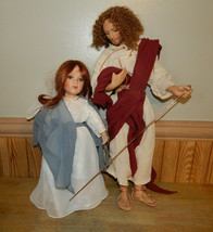 "Vintage Set Titus Tomescu 21"" Jesus #5590FA Geppeddo 17"" Mary Figurines - $58.78"