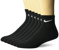 NIKE Unisex Performance Cushion Quarter Socks with Band (6 Pairs), Black... - $19.78