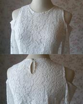 Navy Bridesmaid Sets Dress Full Chiffon Skirt Hollow Long Sleeve Crop Lace Top image 5