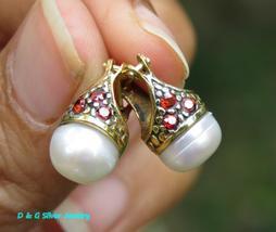 18kt Gold on 925 Silver Freshwater Pearl & Garnet Hoop Earrings - $28.50