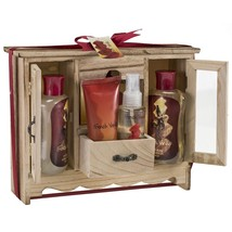 Bath Gift Set Natural Wood Curio Shower Gel Bubble Bath Solt Lotion Body... - $39.42