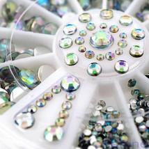 Lots Flat Back Nail Art Rhinestones Glitter Diamond Gems 3D Tips DIY Dec... - $7.40