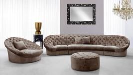 VIG Divani Casa Cosmopolitan Mini Beige Acrylic Crystal Tufted Fabric Sofa