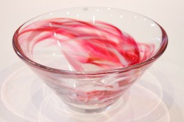 "Kosta Boda Decoartive Sweden Pink Tempera Bowl 9.5"" Lead Free Crystal Free Ship - $119.97"