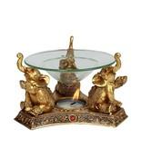 Feng Shui Golden Lucky Elephant Oil Burner Fortune Wisdom Tea Light - $19.79