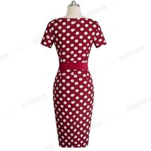 Women's Retro Polka Dot Short Sleeve Belted Wear To Work Dress image 2