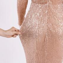 Elegant O Neck Long Sleeve Sparkle Sequin Floor Length Stretchy Bodycon Party Dr image 5