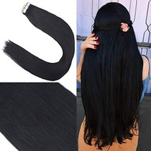 Youngsee 18inch Real Tape in Hair Extensions Human Hair Jet Black #1 20p... - $39.07