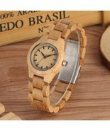 Minimalist Pure Dial Wood Watch for Women Adjustable Small Striped Full ... - $36.62