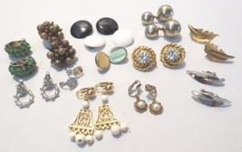 Vintage clip earrings 13 pairs Cluster, button, rhinestones dangle - $40.00