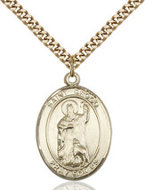 14K Gold Filled St. Drogo Pendant 1 x 3/4 inch with 24 inch Chain - $135.80