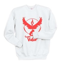 Team valor Red Pokemon Go Crewneck Sweatshirt  S-3XL White - $30.00+
