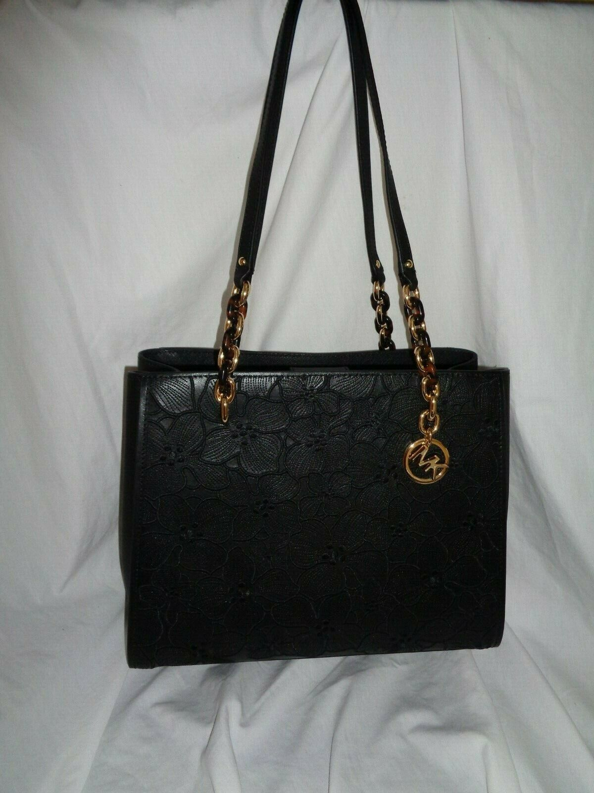 b502d8d05a80 57. 57. Previous. MICHAEL KORS SOFIA LARGE TOTE SHOPPER HANDBAG EMBROIDERY  FLORAL BLACK LEATHER. MICHAEL KORS SOFIA ...