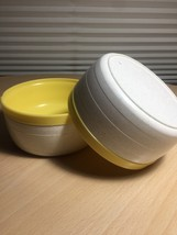 Vintage 60's Set of 2 Cornish therm-o-bowls - yellow and white image 4