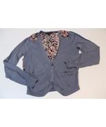 W11898 Womens BANANA REPUBLIC gray/floral silk v-neck CARDIGAN SWEATER, ... - $30.90