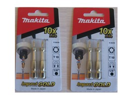 4pcs ( 2 Packs ) Makita B-28226 Impact GOLD Torsion Bit 50MM T10 Screwdriver - $10.75