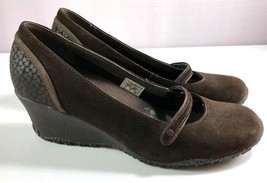Merrell Mary Jane Shoes Womens Petunia Brown Print Wedge Size 8.5 - $54.40