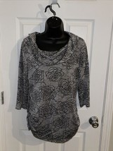 melanie lyne grey rose pattern  tunic sweater - $10.88